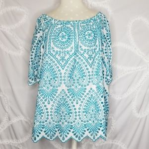 Turquoise Eyelet Top